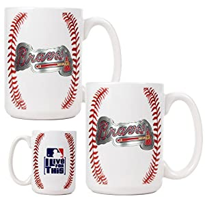 MLB Atlanta Braves Two Piece Ceramic Gameball Mug Set - Primary Logo by Great American Products
