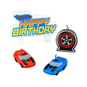 "Amscan Hot Wheels Speed City 1-1/4"" Molded Cake Candles, 4-Count"