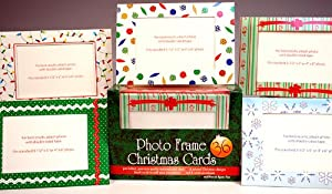 BIG LOT 36 Photo Frame Christmas Greeting Note Cards with Envelopes! -Blank Inside!