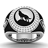 Vijisan 1.74 Ct Gothic Collection Round Stone Wolf Ring in 925 Sterling Silver For Men [AMR2487]