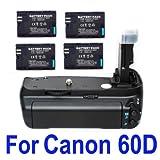 Canon BG-E9 Battery Grip for EOS 60D + 4X LP-E6 Battery