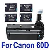 Neewer Canon Bg-E9 Battery Grip For Eos 60D + 4X Lp-E6 Battery