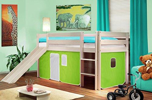 Hochbett Kinderbett Spielbett mit Rutsche Massiv Kiefer Weiß - Grün/Weiß - SHB/41/1032