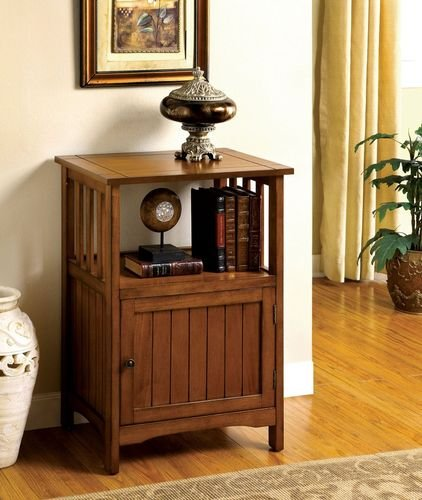 Mission Style Telephone Stand in Antique Oak Finish w/ Single Door