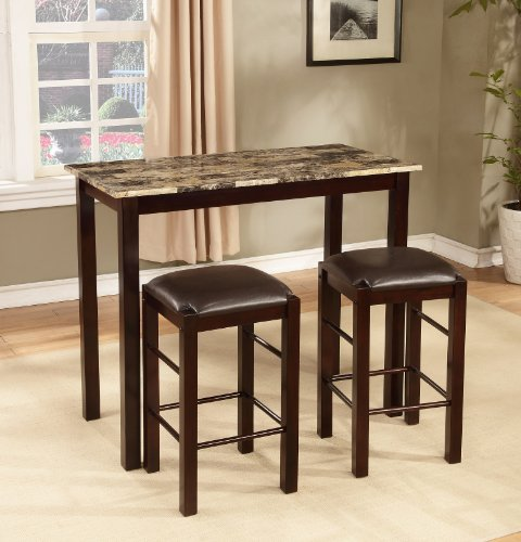 Roundhill Furniture Brando 3-Piece Counter Height Breakfast Set, Espresso Finish (36 High Table compare prices)