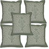 Indian Art Designer Hand Block Print Work Cotton Decorative Cushion Cover 16 X 16 Inches