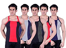 Zimfit Superb Gym Vests - Pack of 5 (BLK_BLU_GRN_RED_GRY_95)
