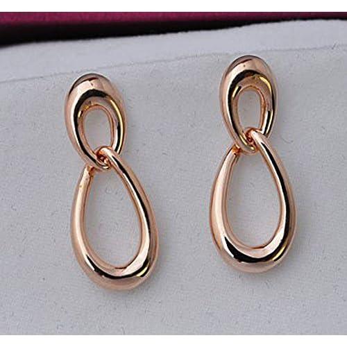 Julia&Joy Jewellery Ladies Gold Plated Double Water Drop Shape Dangle Drop Earrings for Women J109