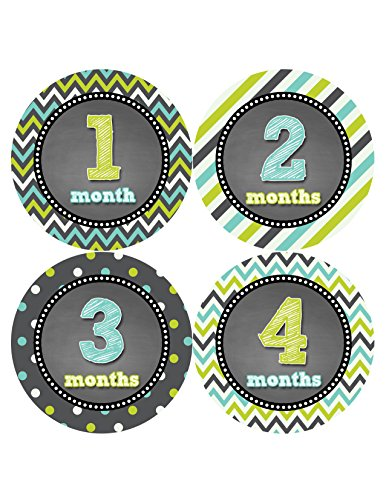 Months in Motion 425 Monthly Baby Stickers Baby Boy Month 1-12 Milestone Age Sticker Photo Prop