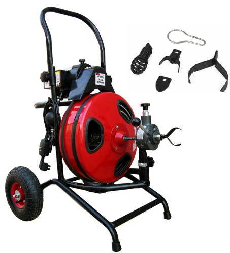 XtremepowerUS Commercial Sewer Snake Drain Auger Cleaner 100 Ft Long 1/2