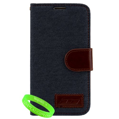 Royal Blue & Brown Canvas - Denim Wallet Portfolio Cover Case For Samsung Galaxy S4 Android Smartphone 4G Lte