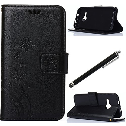 Qbily Patterned PU Leather Stand Protective Flip Case with Magnet Closure Card Holder Slot Pouch Anti Scratch Soft Cases Covers for HTC with Black Stylus Pen