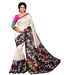 GoGalaxy Fashion Woman's unstiched party wear collection White&Blue Bhagalpuri Silk Printed Free Size Full Saree at Low Price