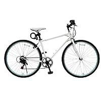 クロスバイク 26インチ シマノ6段変速ギア カギ・LEDライト付 TOPONE トップワン MCR266-29-WH ホワイト