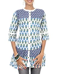 Rajrang Cotton Blue, White Screen Printed Tunic Top Size: L - B00AXXZ5HM