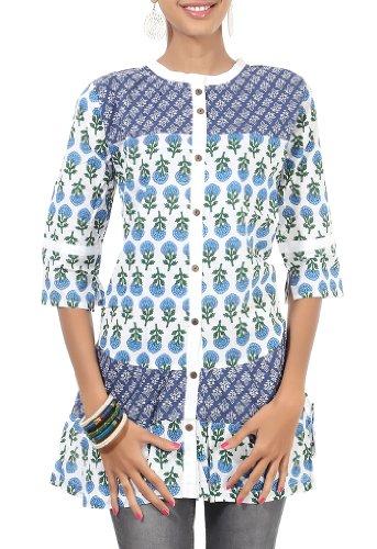 Rajrang Cotton Blue, White Screen Printed Tunic Top Size: L - B00AXXZ5HM