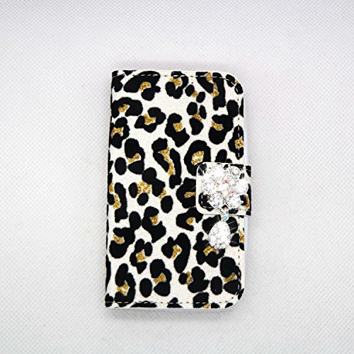 white Sexy Rhinestone Luxury Bling Crystal Diamond Leopard Wallet Purse PU Leather Magnetic Flip Wallet Case Cover For Samsung GALAXY S BLAZE 4G T769