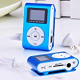 Metal Clip Digital MP3 Player FM Radio LCD Screen for 2/4/8/16GB TF Card Blue