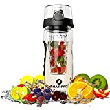 Infuser Water Bottle - Best Fruit Infusion Sports Bottle - Large 32oz - Flip Top Lid - Made Of Durable Eastman...