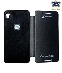Royal Rusi - Black Flip cover , USB Data Cable , Otg cable For Micromax A104 Canvas Fire 2
