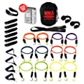 Bodylastics 28 pcs Resistance Bands Set *MMA TRAINING with 12 Stackable anti-snap exercise tubes, Heavy Duty components, carrying case, and printed instructions for over 100 exercises.