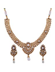 Ganapathy Gems 1 Gram Gold Plated Traditional South Indian Temple Jewellery Set With Pearls. - B00SV4TYZY