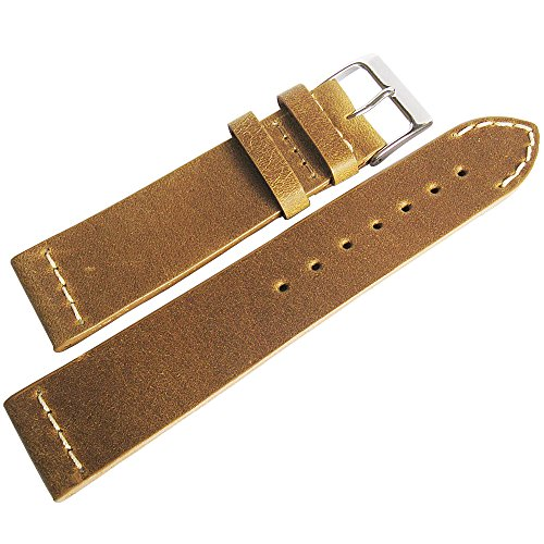 Colareb 20Mm Venezia Ocher Tan Distressed Leather Mens Watch Strap Made In Italy