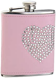 """Visol """"Dazzled Heart"""" Rhinestone Leatherette Hip Flask, 6-Ounce, Pink"""