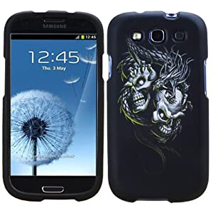 MINITURTLE, Graphic Design Image Rubber Coating 2 Piece Hard Snap on Faceplate Protector Phone Case Cover, Clear Screen Protector Film, and Capacitive Touch Stylus Pen for Android Smartphone Samsung Galaxy S3 I9300 from All Carriers (Black Silver Dragon S