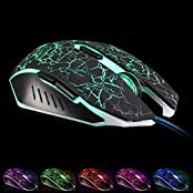 Professional Gaming Mouse Wired USB Gaming Mice With Adjustable DPI Up To 2400 DPI 7 Soothing LED Colors 6 Buttons...