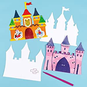 Castle card art craft shapes for children to decorate for Amazon arts and crafts for kids