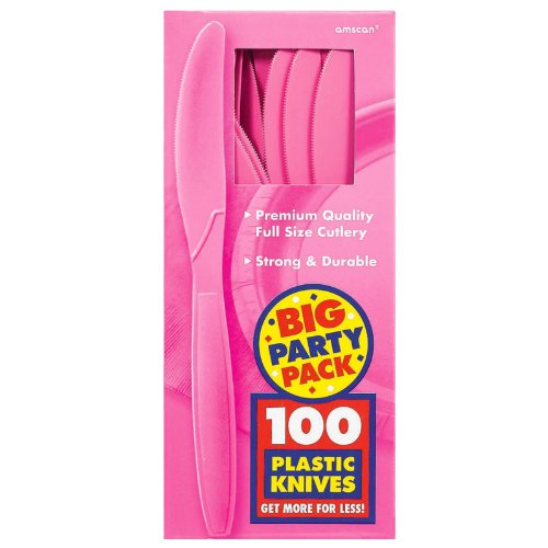 Amscan Big Party Pack 100 Count Mid Weight Plastic Knives, Bright Pink