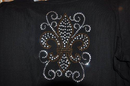 Sz 2Xl - Ls Black Fancy Fleur De Lis