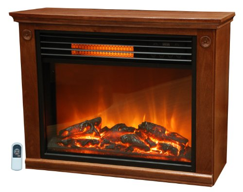 Lifesmart Pro Series Largre Cell Infrared Quartz Fireplace in Burnished Oak Finish w/Remote