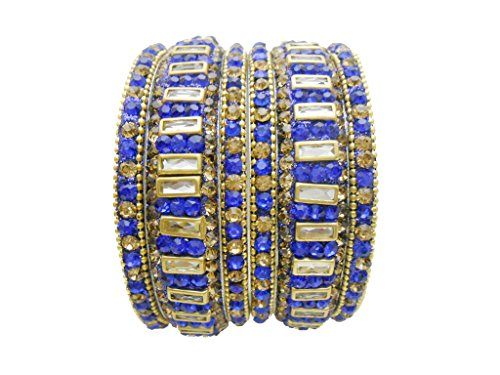 Antique Blue Gold Plated Bangles Set By My Design(size-2.6)