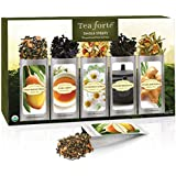 Tea Forte Classic SINGLE STEEPS Loose Leaf Tea Sampler, 15 Single Serve Pouches - Green Tea, Herbal Tea, Black Tea