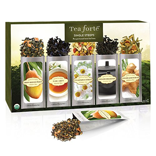 Tea Forté Classic SINGLE STEEPS Loose Leaf Tea Sampler, 15 Single Serve Pouches - Green Tea, Herbal Tea, Black Tea