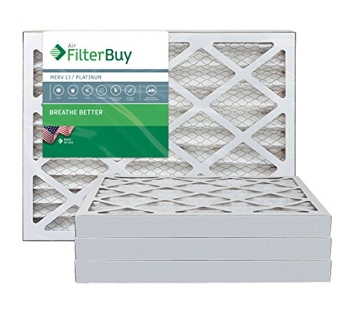 AFB Platinum MERV 13 24x36x2 Pleated AC Furnace Air Filter. Pack of 4 Filters. 100% produced in the USA.