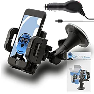 iTALKonline Gionee M6 Black Multi-Directional Dashboard / Windscreen, Case Compatible (Use with or without your existing case!) Clip On Suction Mount In Car Holder with 1000 mAh MicroUSB In Car Charger with LED and overload protection