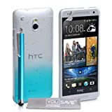 Yousave Accessories Raindrop Hard Cover with Stylus Pen for HTC One Mini - Blue/Clear