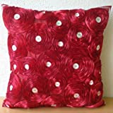 Bed Of Roses - 16x16 inches Square Decorative Throw Red Silk Pillow Covers with Satin Ribbon Embroidery