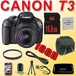 Canon EOS Rebel T3 12.2 MP Digital SLR Camera (1100D) T3 w/ 18-55mm IS II Lens (Black) LPE10 Battery 16GB UV HDMI 11 Piece DavisMAX Bundle