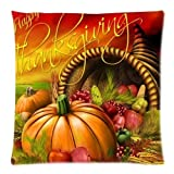 Happy Thanksgiving Day Pumpkin Decor Square Decorative Zippered Pillow Case 18x18 (twin sides)