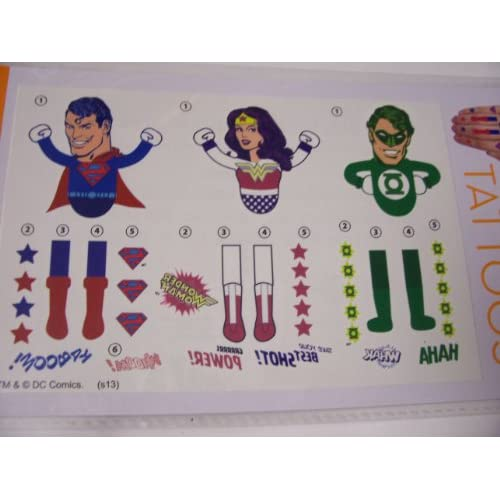 Amazon.com: DC Comics Hand Tattoos ~ Superman, Wonder Woman, Green
