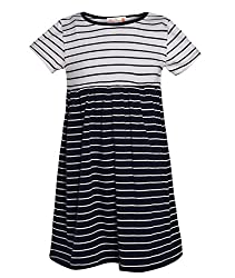 Chipchop Girls' Dress (WFGD0040N_Dark Blue_7-8 Years)