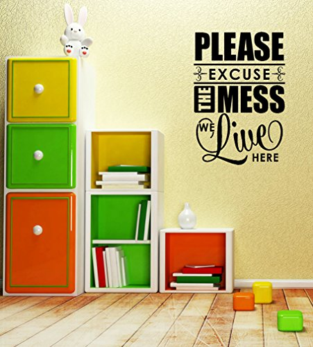 Wall Decor Plus More WDPM3325 Please Excuse the Mess We Live Here Home Decor Wall Decal Sticker for Parents and Kids, 30.5 x 21-Inch, Black