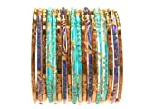 Beachcombers! Ethnic Glass Indian Wedding Bridal Bollywood Bangles Belly Dance Bracelets Set