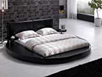 Hot Sale Modern Black Leather Headboard Round Bed - Queen Modern Black Leather Headboard Round Bed - Queen