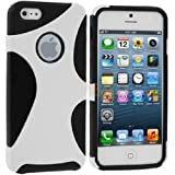 CellMACs Protective Hybrid Plastic / Silicone Case for Apple iPhone 5 & iPhone 5S A1428 A1429 A1533 A1453 A1457 A1530 - Black & White