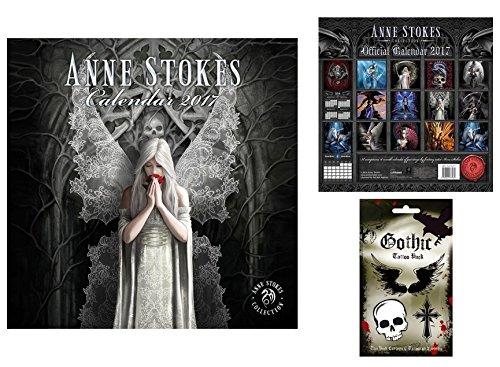 Set: Gothic, Anne Stokes, Calendario Ufficiale 2017 (30x30 cm) E 1x Set Tatuaggi (17x10 cm)